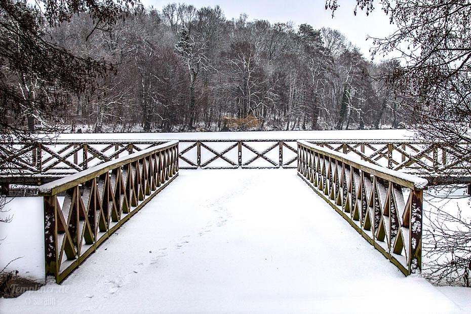 Steg am Stadtsee im Schnee