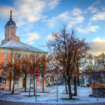 Histrorisches Rathaus in Templin im Winter