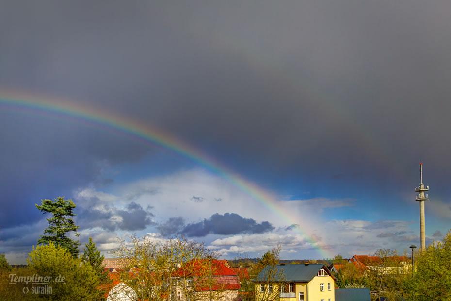 Regenbogen über Templin am Ostermontag